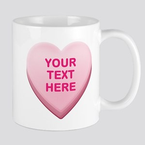 Pink Custom Candy Heart Mug