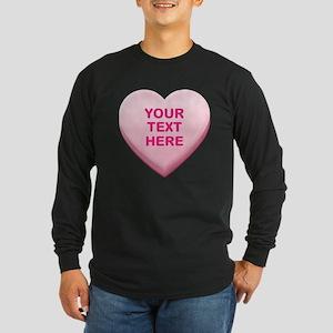 Pink Custom Candy Heart Long Sleeve Dark T-Shirt