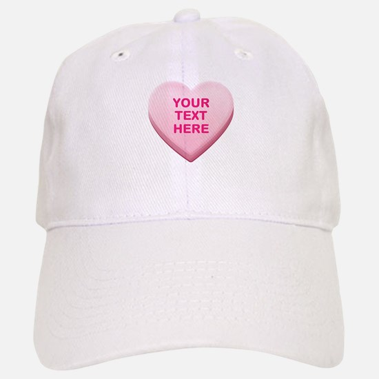 Pink Custom Candy Heart Baseball Baseball Cap