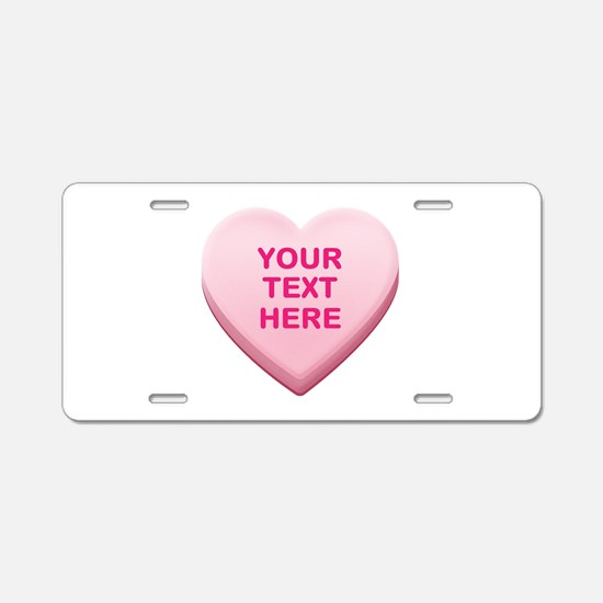 Pink Custom Candy Heart Aluminum License Plate