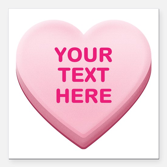 "Pink Custom Candy Heart Square Car Magnet 3"" x 3"""