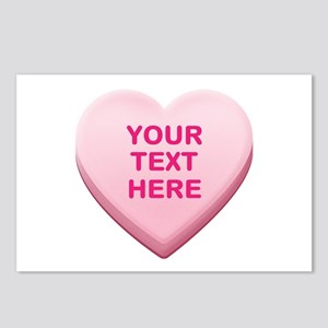 Pink Custom Candy Heart Postcards (Package of 8)
