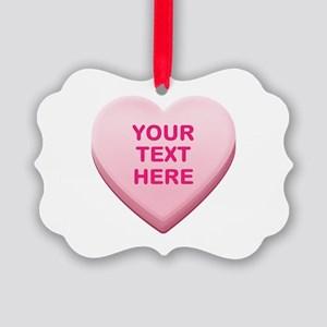 Pink Custom Candy Heart Picture Ornament