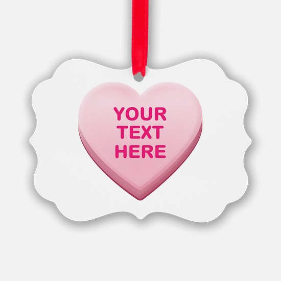 Pink Custom Candy Heart Ornament