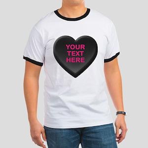 Black Custom Candy Heart Ringer T