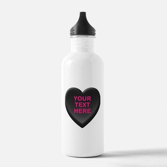 Black Custom Candy Hea Water Bottle