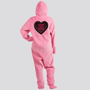 Black Custom Candy Heart Footed Pajamas