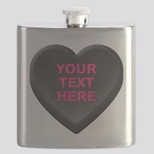 Black Custom Candy Heart Flask