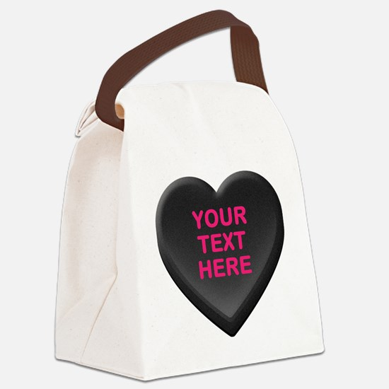 Black Custom Candy Heart Canvas Lunch Bag