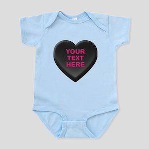 Black Custom Candy Heart Infant Bodysuit