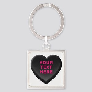 Black Custom Candy Heart Square Keychain