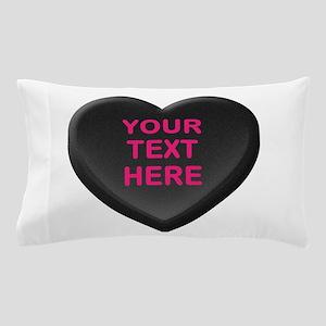 Black Custom Candy Heart Pillow Case