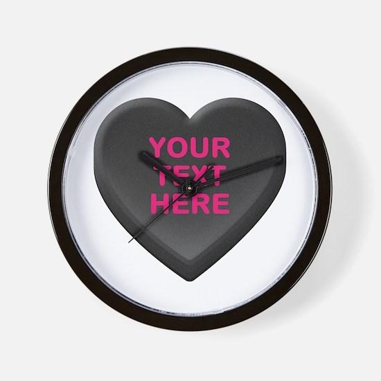 Black Custom Candy Heart Wall Clock