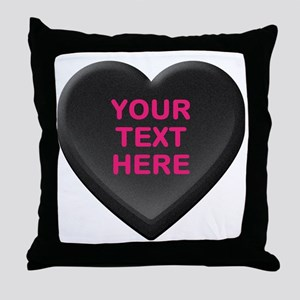 Black Custom Candy Heart Throw Pillow