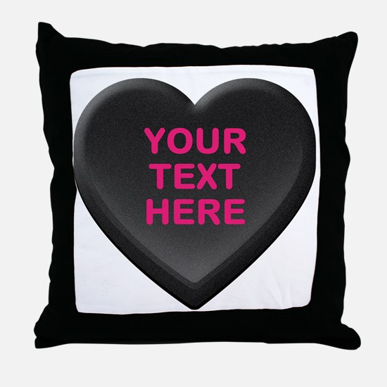 Black Custom Candy Heart Throw Pillow