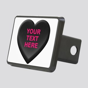 Black Custom Candy Heart Rectangular Hitch Cover