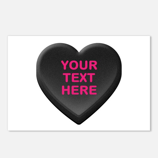Black Custom Candy Heart Postcards (Package of 8)