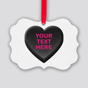 Black Custom Candy Heart Picture Ornament