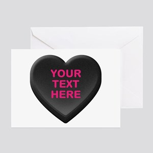 Black Custom Candy Heart Greeting Cards (Pk of 20)