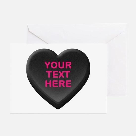Black Custom Candy Heart Greeting Cards (Pk of 20)