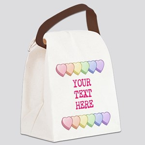 Custom Rainbow Candy Hearts Canvas Lunch Bag