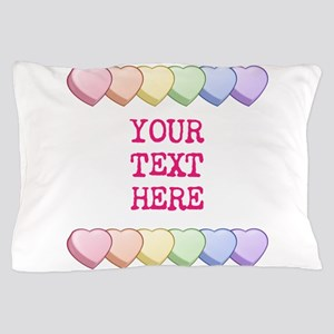 Custom Rainbow Candy Hearts Pillow Case