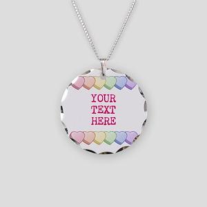 Custom Rainbow Candy Hearts Necklace Circle Charm