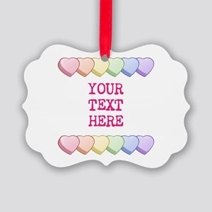 Custom Rainbow Candy Hearts Picture Ornament