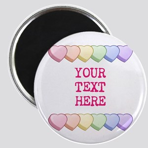 Custom Rainbow Candy Hearts Magnet