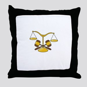GAVELS AND SCALES Throw Pillow