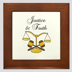 SCALES JUSTICE AND TRUTH Framed Tile