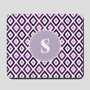 Purple Ikat Diamond Pattern Monogram Mousepad