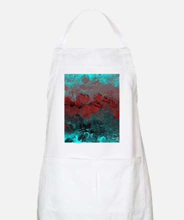 Aqua and Red Abstract  Apron