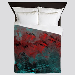 Aqua and Red Abstract  Queen Duvet