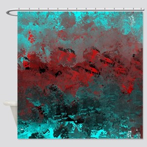 Aqua and Red Abstract  Shower Curtain