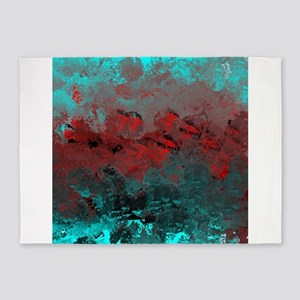 Aqua and Red Abstract 5'x7'Area Rug