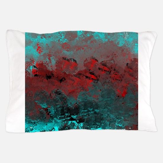 Aqua and Red Abstract Pillow Case