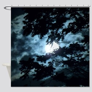 Moon through the trees. Shower Curtain