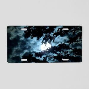 Moon through the trees. Aluminum License Plate