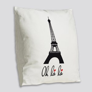 Eiffel tower, Paris Oh la la Burlap Throw Pillow