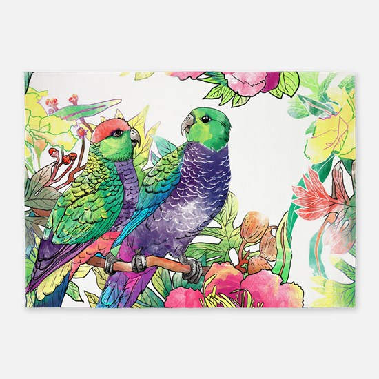 Colorful Parrots 5'x7'Area Rug