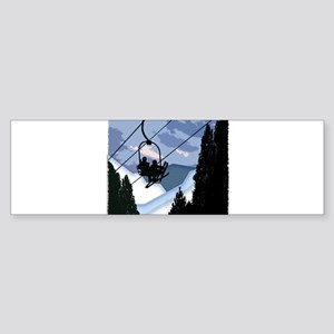 Chairlift Full of Skiers Bumper Sticker