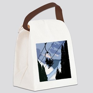 Chairlift Full of Skiers Canvas Lunch Bag
