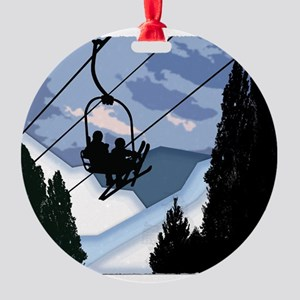Chairlift Full of Skiers Round Ornament