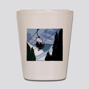 Chairlift Full of Skiers Shot Glass