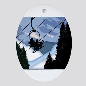 Chairlift Full of Skiers Ornament (Oval)