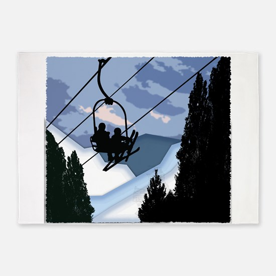 Chairlift Full of Skiers 5'x7'Area Rug