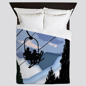 Chairlift Full of Skiers Queen Duvet