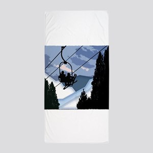 Chairlift Full of Skiers Beach Towel