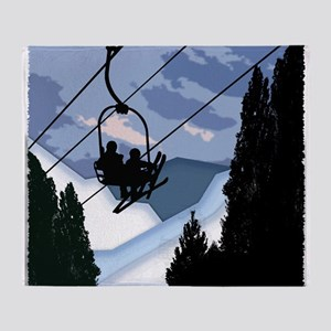 Chairlift Full of Skiers Throw Blanket